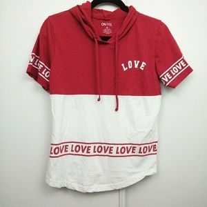 On Fire | Red & White Love Hoodie T-Shirt